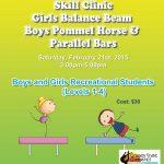 GirlsBalanceBeamBoysPommelHorseParallelBarsClinic