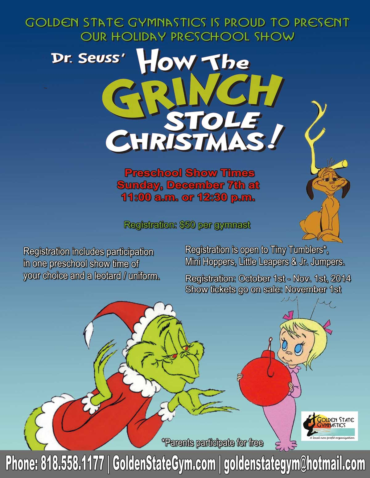 preschool show grinch flyer 2014 2 - How The Grinch Stole Christmas 2014